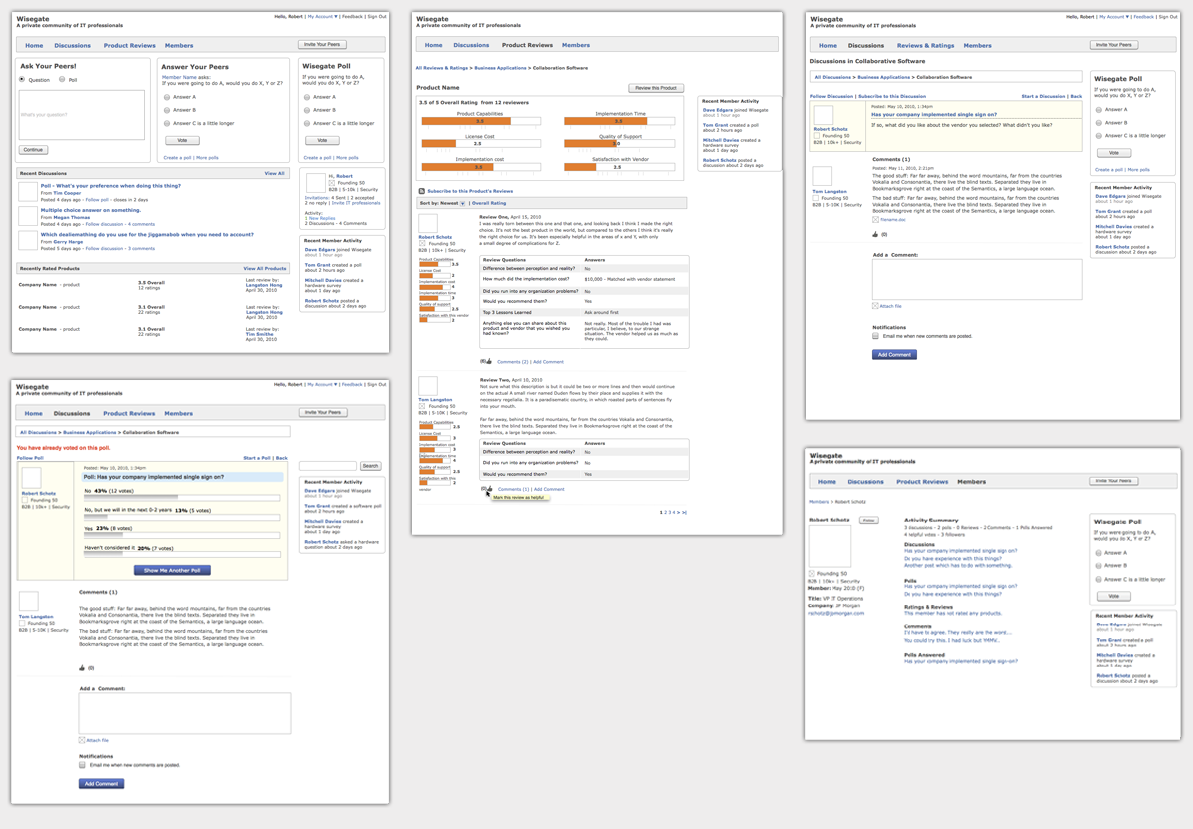 A few of the 40+ wireframes created.